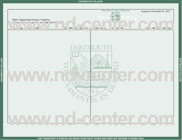 Dartmouth College Transcript