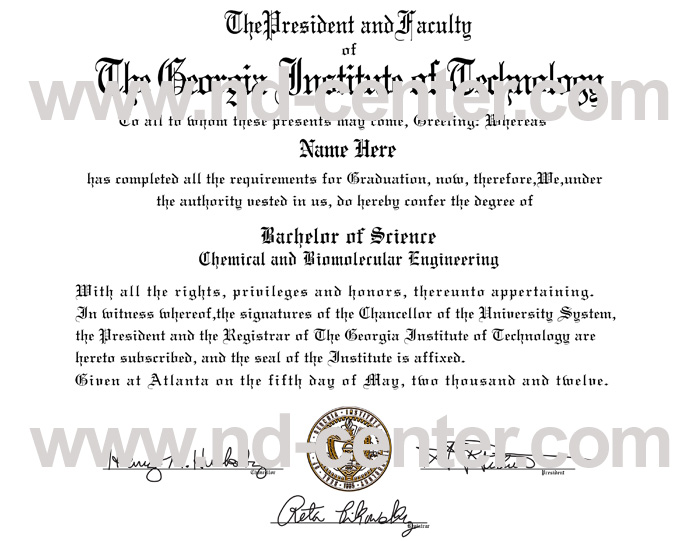 Georgia Institute of Technology Diploma