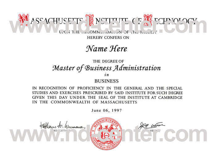 Massachusetts Institute Technology Diploma