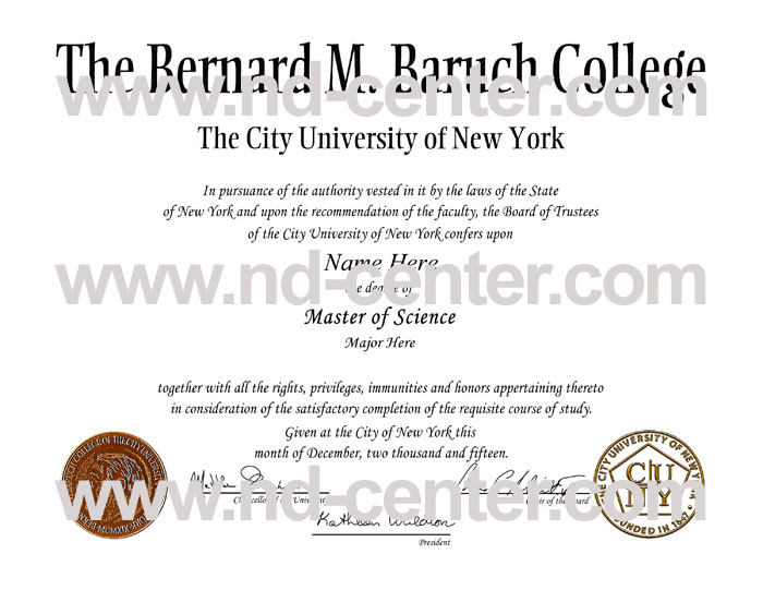 baruch college city university of new york diploma