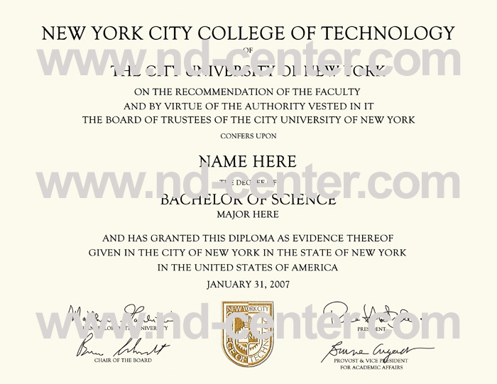new york city college of technology diploma