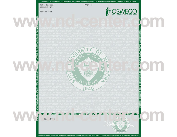 state university of new york at oswego transcript