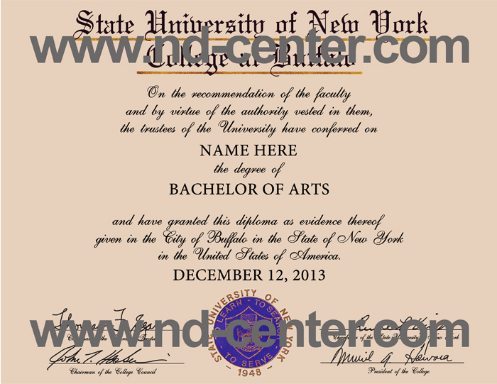 State University of New York College at Buffalo Diploma