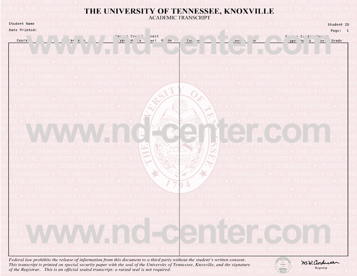 University of Tennessee Transcript