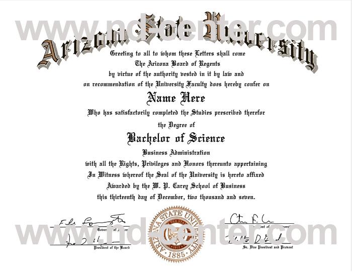 Arizona State University Diploma
