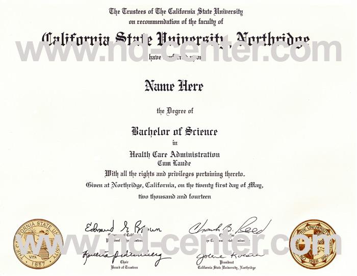 California State University Northridge Diploma
