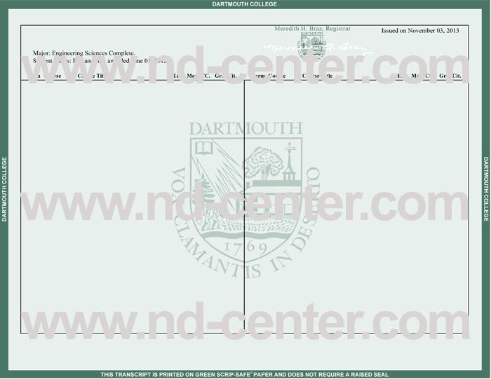 Dartmouth College Transcript