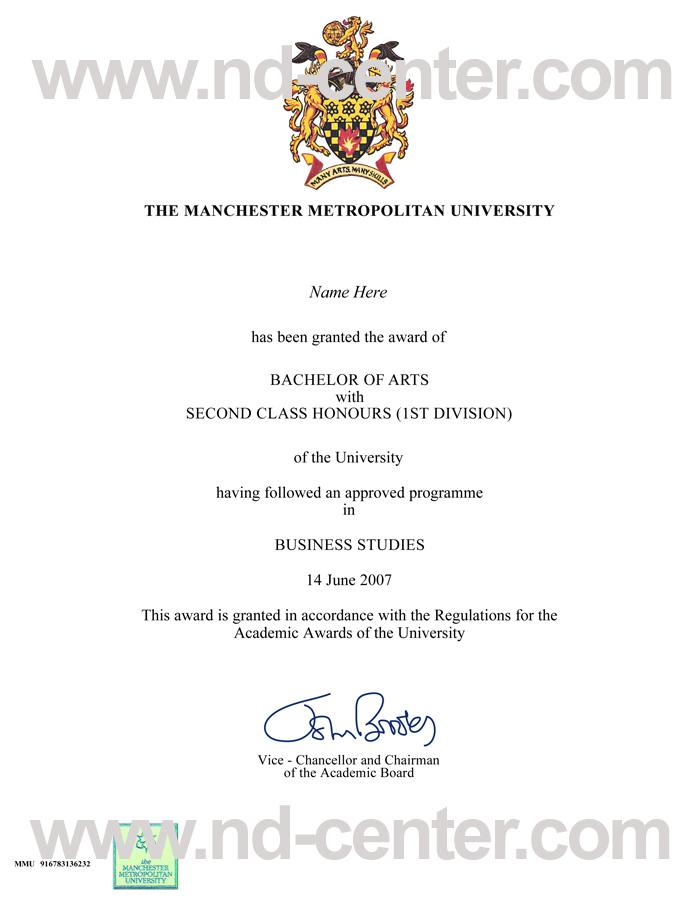 Manchester Metropolitan University Degree