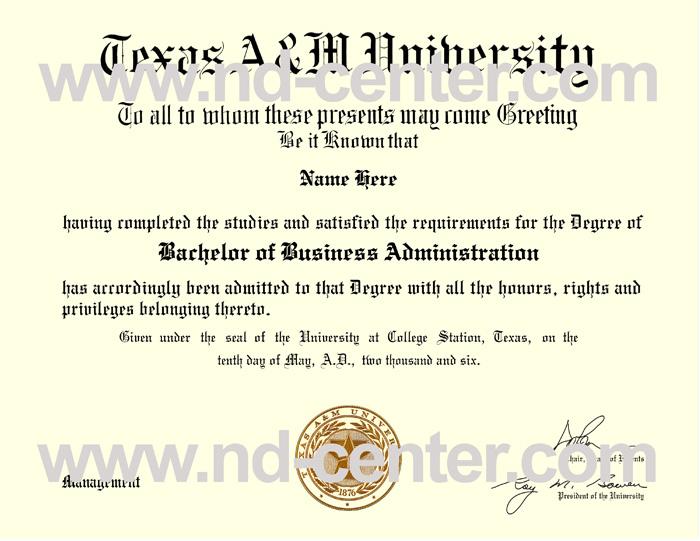 Texas AM University Diploma
