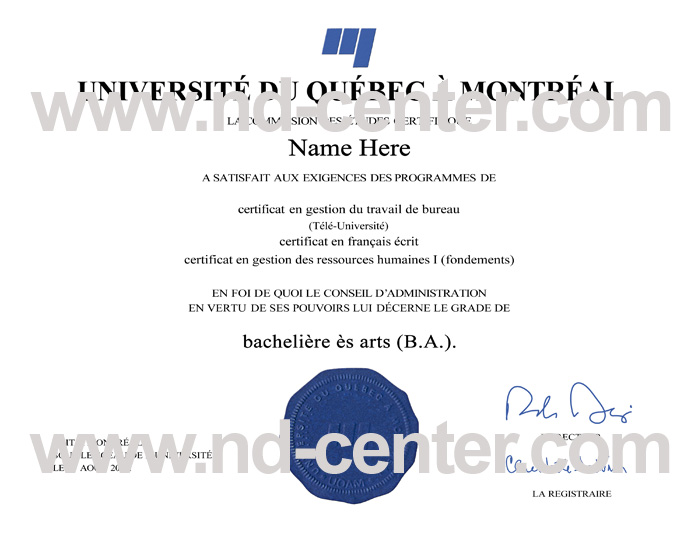Universite Du Quebec Montreal Diploma