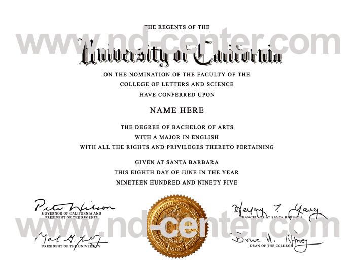 University Of California Santa Barbara Diploma