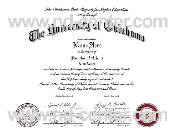 University Of Oklahoma Diploma