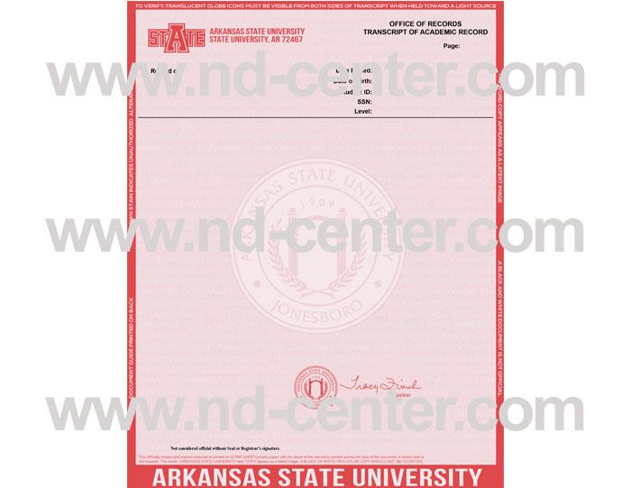 Arkansas State University Transcript