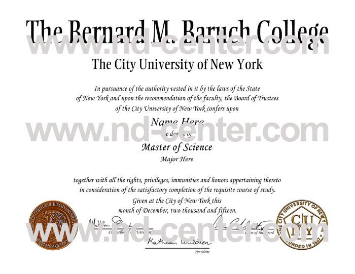 Baruch College City University Of new York Diploma