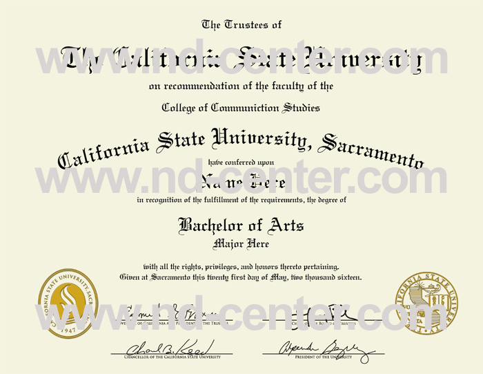 California State University Sacramento Diploma