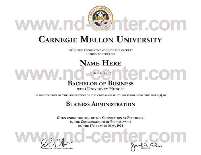 Carnegie Mellon University Diploma