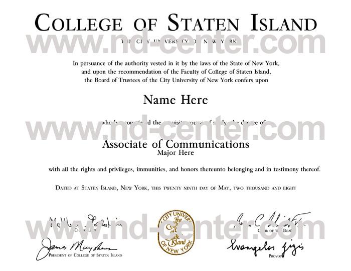 College Of staten Island Diploma