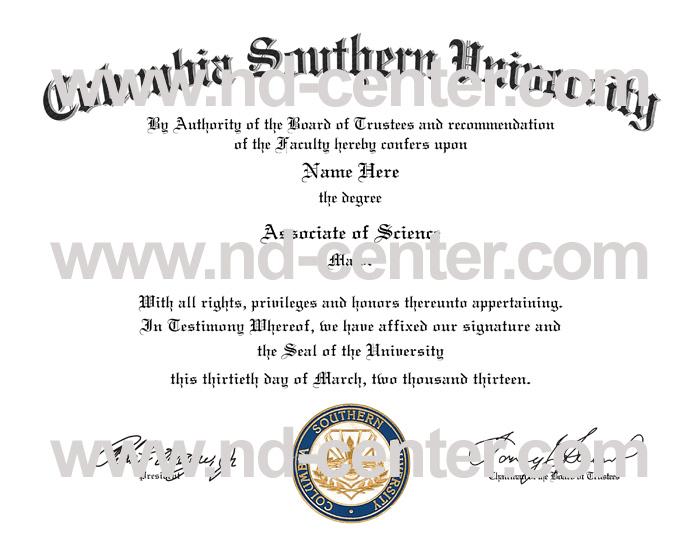 Columbia Southern University Diploma