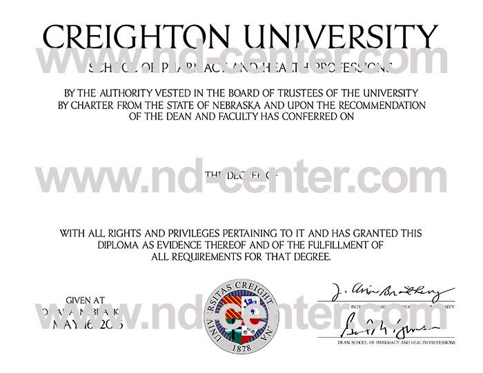 Creighton University Diploma