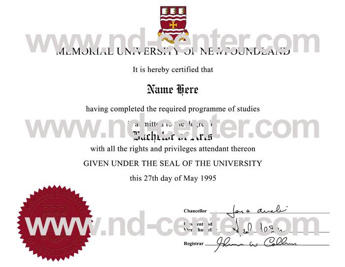 Memorial University Of Newfoundland Diploma