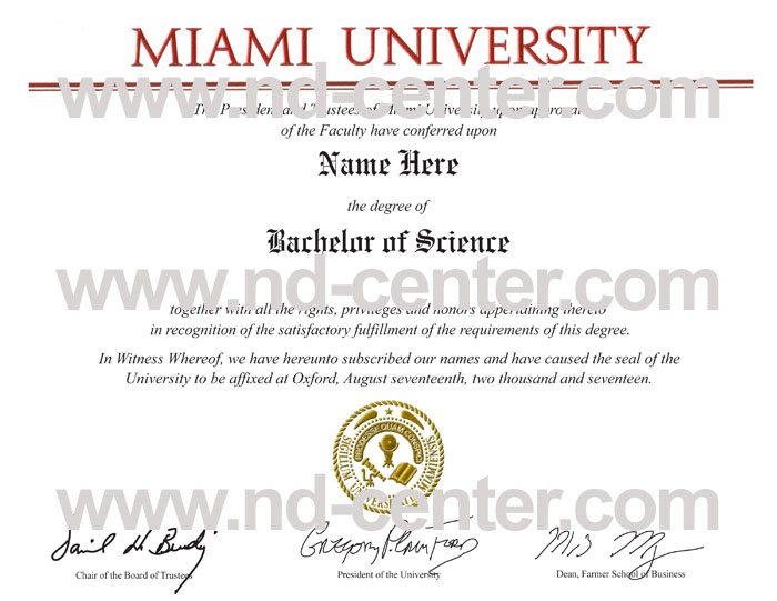 Miami University Diploma