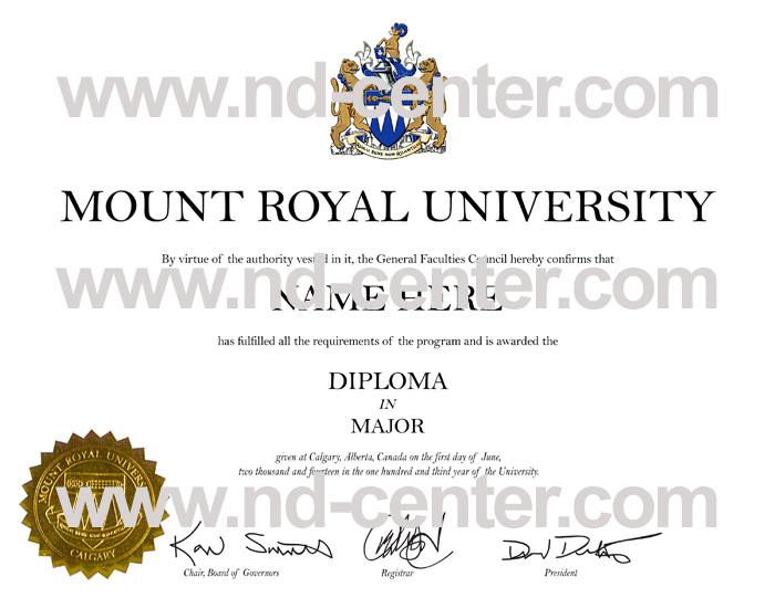 Mount Royal University Diploma