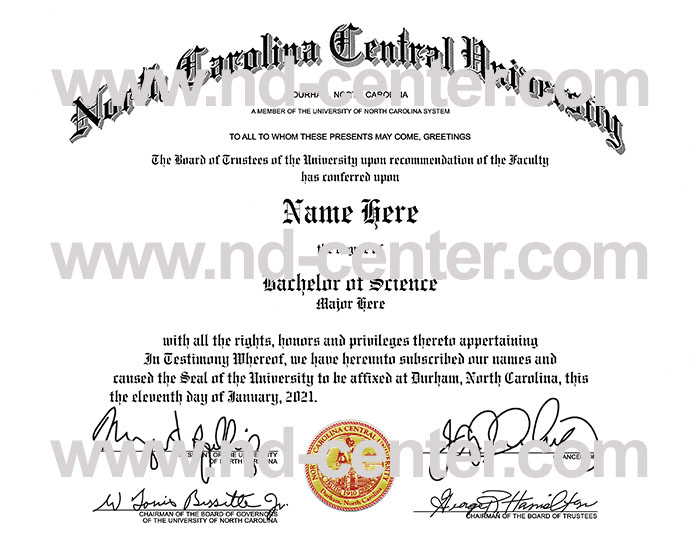 North Carolina Central University Diploma