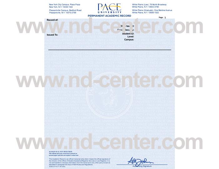 Pace University Transcript