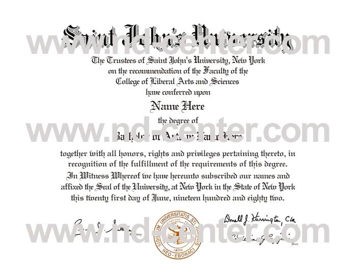 St Johns University Diploma
