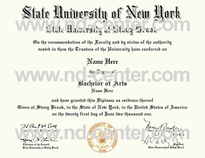 State University Of new York At Stony Brook Diploma