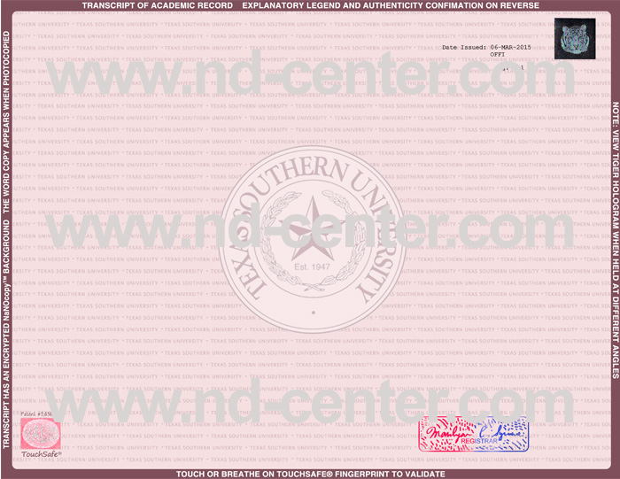 Texas Southern University Transcript