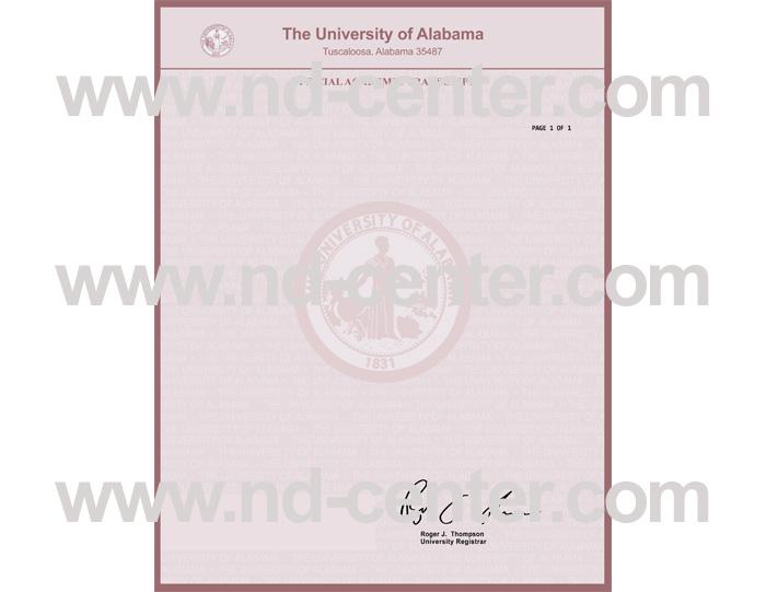 University Of Alabama Transcript