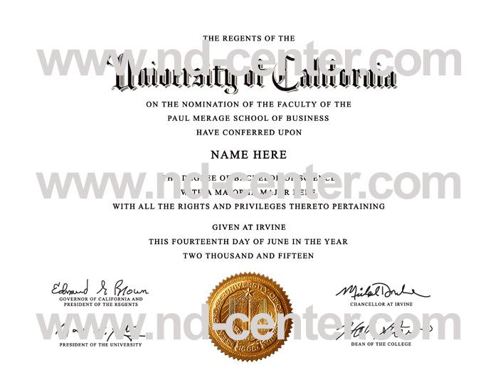 University Of california Irvine Diploma