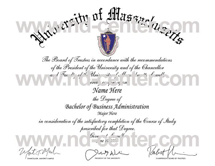 University Of Massachusetts Diploma