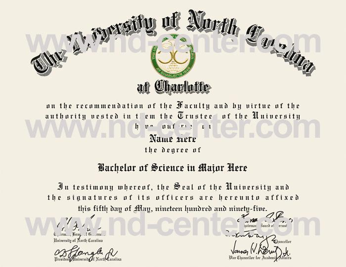 University Of north Carolina At Charlotte Diploma