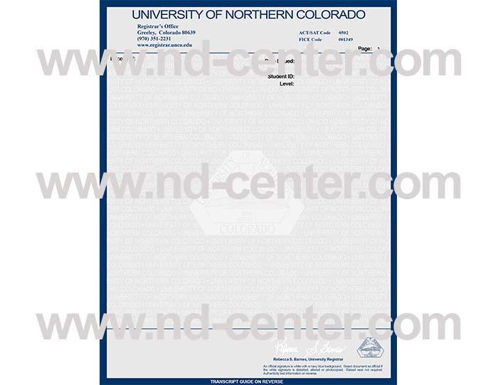 University Of northern Colorado Transcript