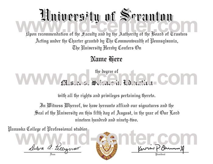 University Of Scranton Diploma