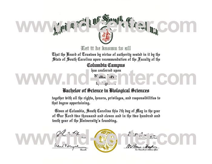 University Of south Carolina Diploma