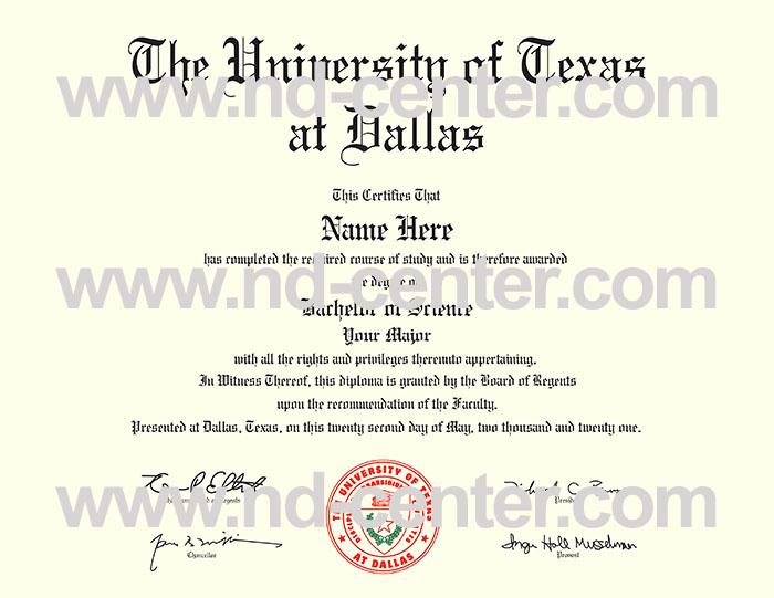 University Of texas Dallas Diploma