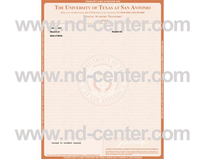 University Of texas San Antonio Transcript