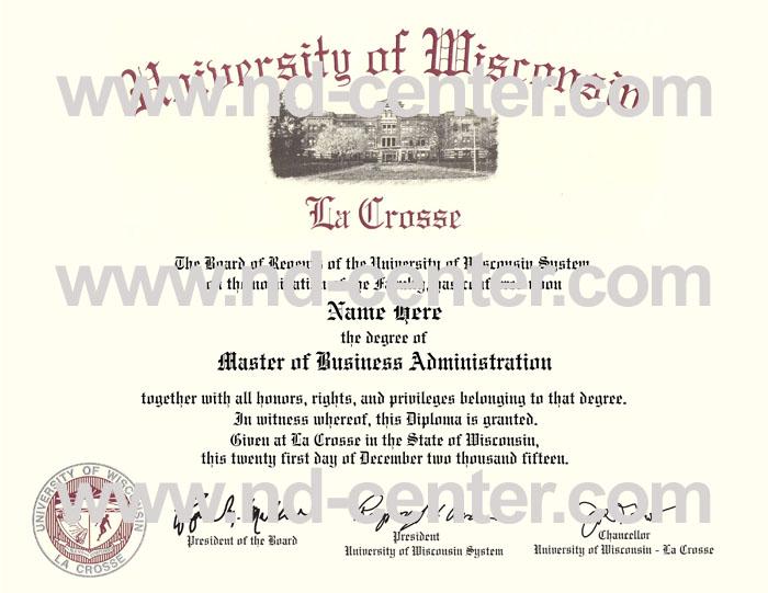 University Of wisconsin La Crosse Diploma