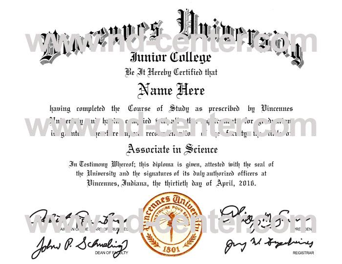 Vincennes University Diploma