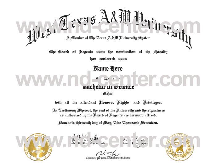 West Texas Am University Diploma