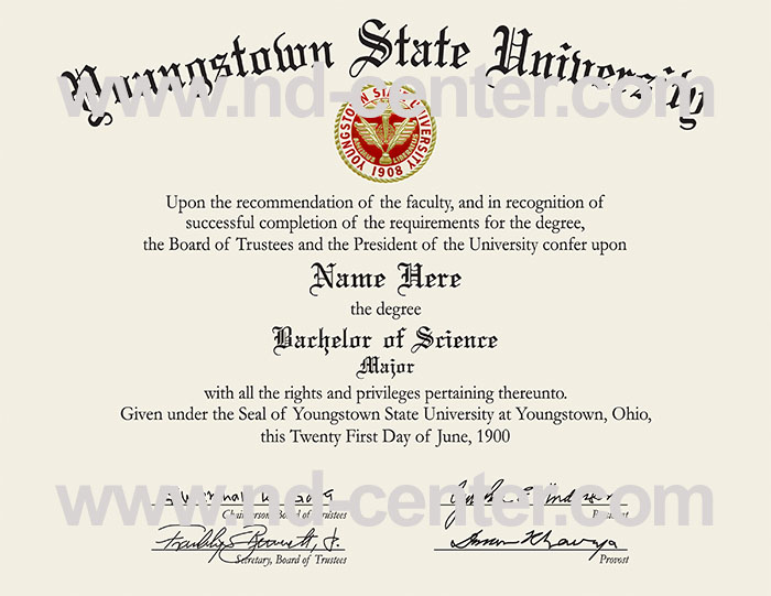 Youngstown State University Diploma